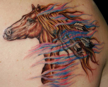 Wild Horse Portrait Tattoo With Feathers Tied Into Mane