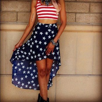 Red, white, and blue! Be perfect for a July 4th outfit<3
