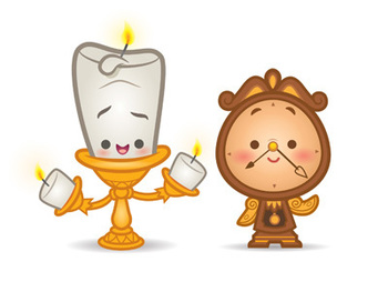 Kawaii Lumiere and Cogsworth