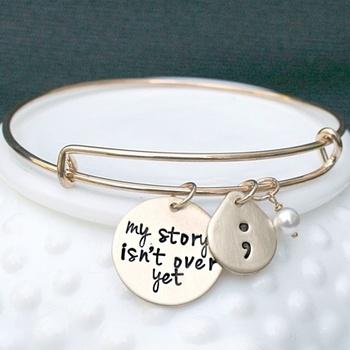 Project Semicolon Bracelet - Depression - Suicide Prevention - Self Harm - Semi Colon Project - Addiction - Self Injury - Bracelet