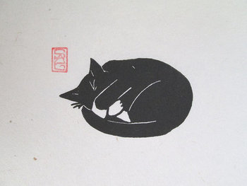 Black Cat Lino Print Peat Weasel Takes a Nap by OniOniOniArt, $10.00