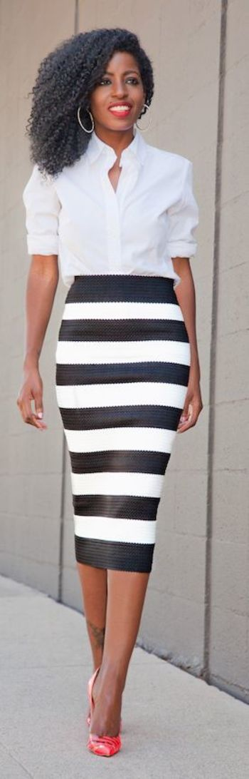 Striped Pencil Skirt Outfit Idea