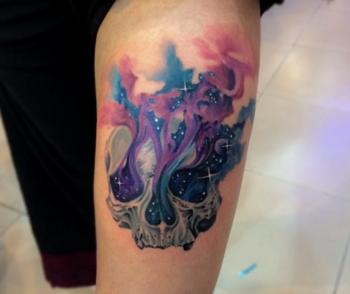 10 Cool and Colorful Watercolor Skull Tattoos | Tattoodo.com
