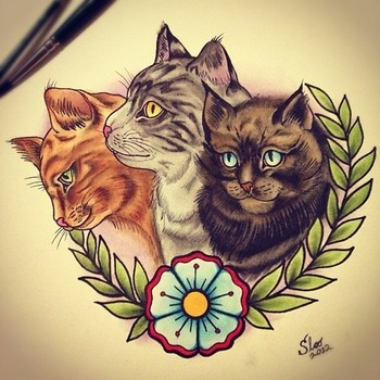 cat portrait tattoo frame - Google Search