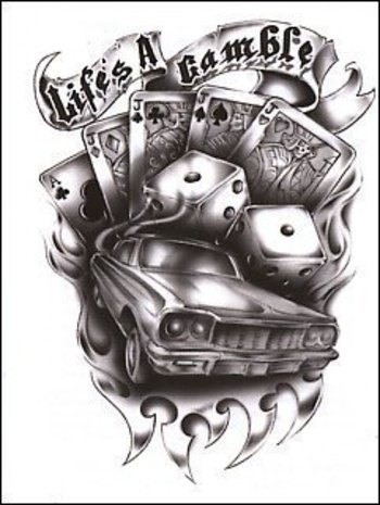 """Life's A Gamble"""""""" Temporaray Tattoo by Tattoo Fun. $3.95. This is a Temporary tattoo of a black and w"""
