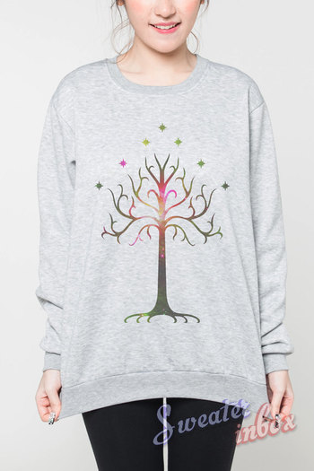 Tree of Gondor Jumper The Lord of the Rings Tshirt Long Sleeve Sweatshirts Women Grey Unisex Sweater