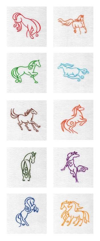 Machine Embroidery Designs - Art Deco Horses Set