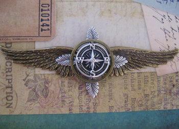 LARGE Steampunk Explorer Oak and Compass Wings - Airship Pilot / Explorer / Adventurer. $25.00, via E