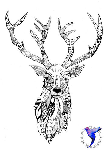 Zentangle Stag Head ScreenPrint by HKMILLUSTRATION on Etsy, £15.00