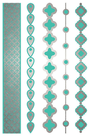 Silver Turquoise Jewelry Tattoo, Silver Metallic Tattoos by ShimmerTatts, $9.95 the HOTTEST new fashi