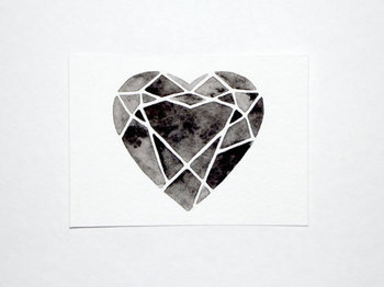 ACEO Original Watercolor Cutting Diamonds Heart by GeometricInk, $10.00