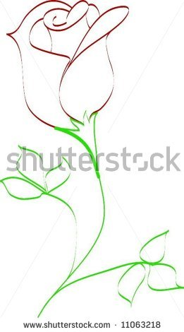Simple line tattoo simple line drawing of rose bud stock vector 11063218 shutterstock original