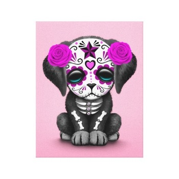 Cute Purple Day of the Dead Puppy Dog Pink