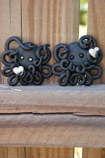 Black Polymer Clay Octopus by TooCuteCharms306 on Etsy, $10.00