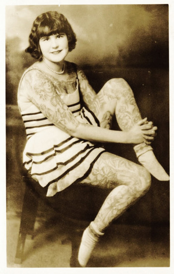 Betty Broadbent, tattooed lady c. 1930's