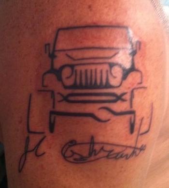 Black Ink Outline Jeep Tattoo | Tattooshunt.com
