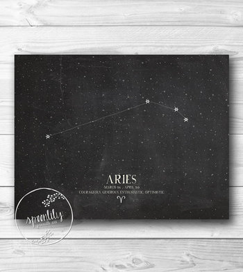 ARIES, Zodiac Constellation Print, Chalkboard Art, Astrology Print - Home Decor - Wall ART PRINT