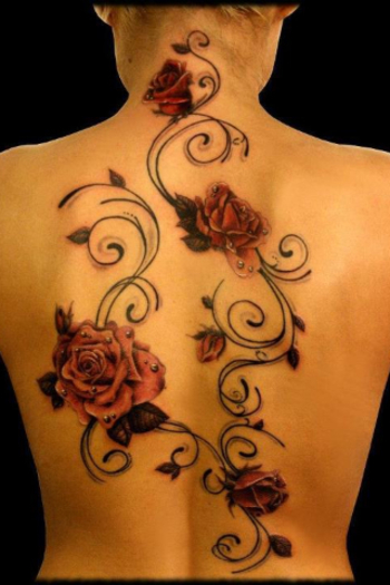 Back Tattoo - red roses with black decal and raindrops