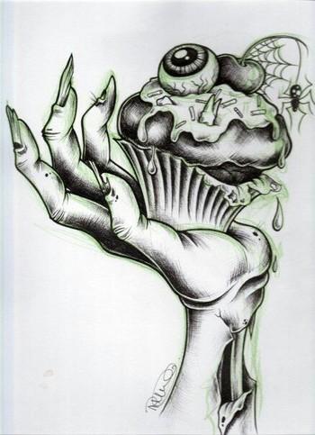 Zombie cupcake Zombie hand tattoo idea