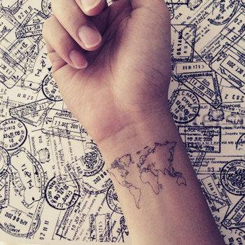 2pcs World Map Love Travel Wrist tattoo - InknArt Temporary Tattoo - wrist quote tattoo body sticker