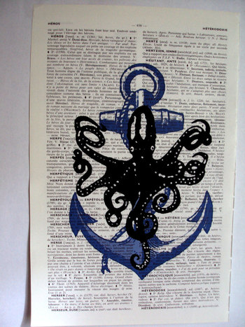 Nautical Print on Vintage Dictionary Book Page Octopus Guarding Anchor...love the octopus/ anchor com