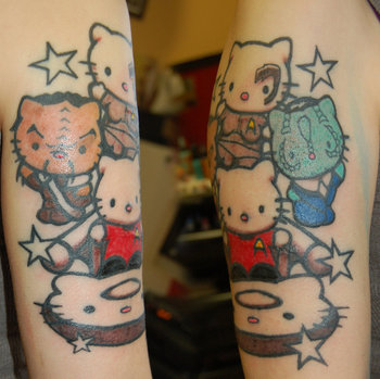 Start trek hello kitties tattoo. I love the klingon!!