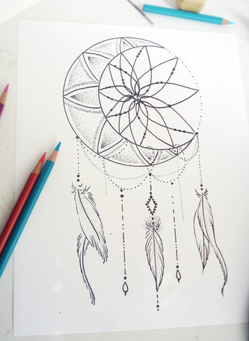 Moon Dream Catcher Coloring Page - Instant Download Print Your Own Coloring Pages Adult Coloring Book