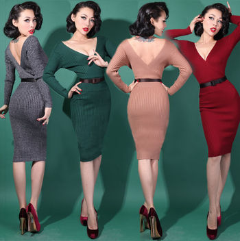 1950s PINUP Foxy Wiggle DRESS - retro vintage style Marilyn 4 Colours UK6 -UK12 #RetroVixens #WiggleP