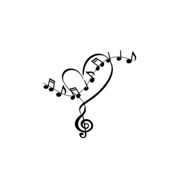 "heart and music notes tattoo- i like the top part but would make it more ""scripty"" and ""flowy"""