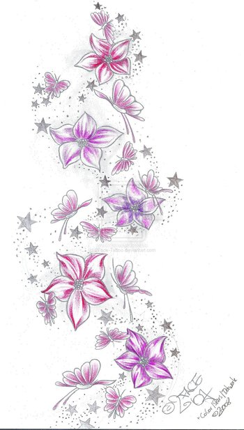 Stars Flower Butterflies Color by 2Face-Tattoo on deviantART