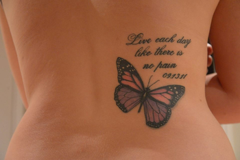 "Got this tattoo as my way of accepting.... ""Live each day like there is no pain"" ~Fibromyalgia~"