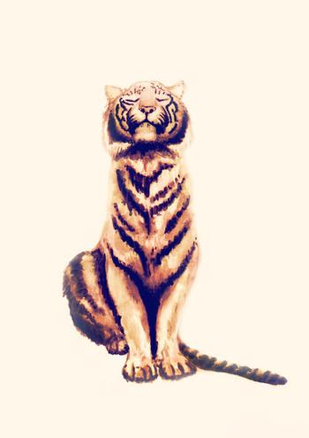 Zen Tiger  Art Print by Cedric S Touati