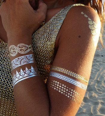 Body art Gold silver Jewelry tattoo, model 91