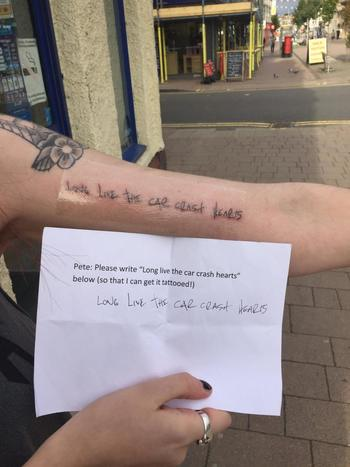 "Fall Out Boy fan tattoo in Pete's handwriting. ""Long live the car crash hearts"" from Thriller on the"