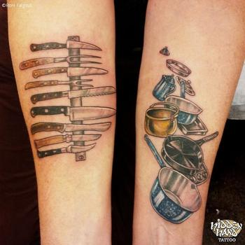 Colorful Tattoo Of Knives And Pots Pans That A Chef Would Use Pictures