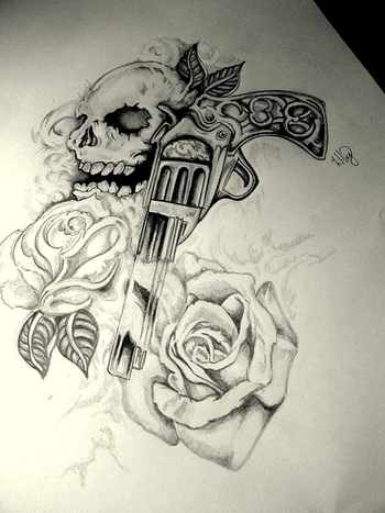 Skull Gun n Roses Tattoo Design | Tattoobite.com