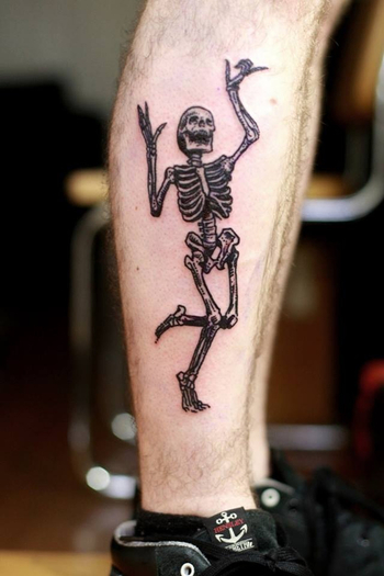 Dancing skeleton tattoo on leg #man • Tattoo Ideas Zone