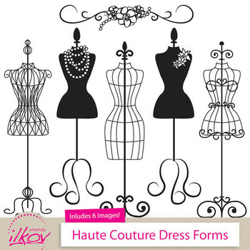 Professional Fashion Clip Art, Dress Forms Clip Art for Digital Scrapbooks, Crafts, Invitations, Web