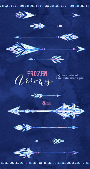 Frozen Arrows. 12 Watercolor Hand painted Clipart elements, winter, diy elements, ice, invite, borders, christmas, digital, greetings, blue