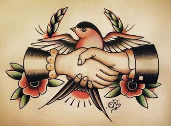 Swallow Handshake Traditional Tattoo Flash. $18,99, via Etsy.
