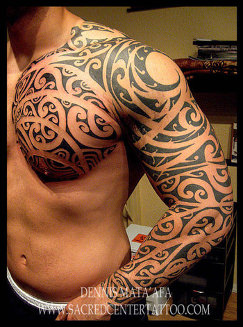 Inklets, Sleeve and Chest by Dennis Mata'afa @Sacred Center...