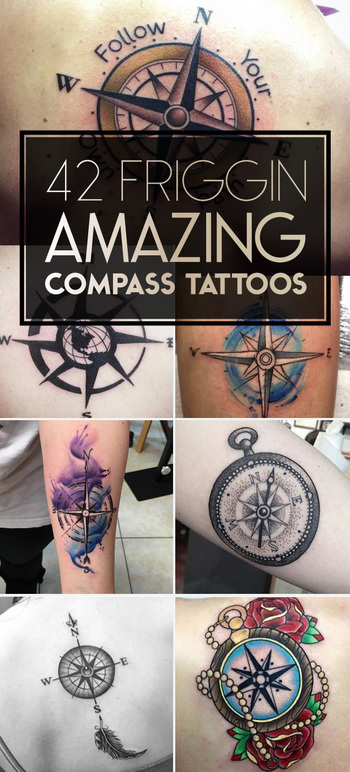 42 Friggin Amazing Compass Tattoos - TATTOOBLEND