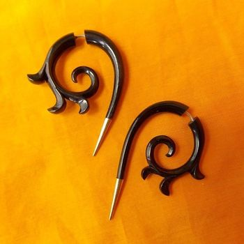 Silver Tip Fake Gauge Earrings