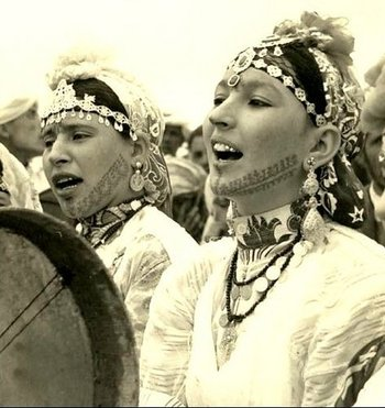 Berber women with traditional tattooing