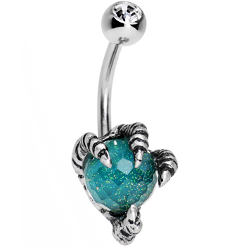 Clear gem aqua globe stainless steel take me talons belly ring original