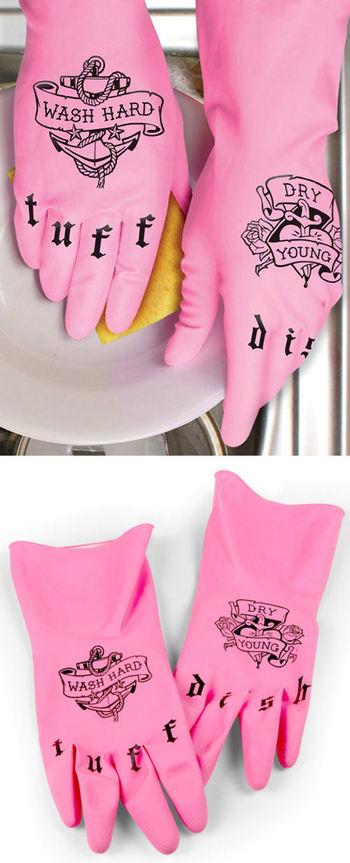 Tattoo Rubber Dish Gloves // #kitchen #dishes #wash