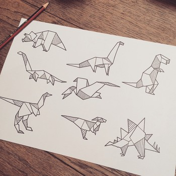 """Definitely would love to tattoo these little origami dinosaurs, if you're keen contact me via email"