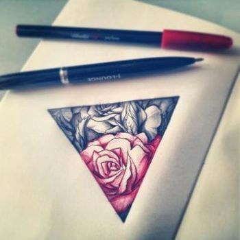 triangle rose tattoo red n black - fascinating, i think that this in the shape of heartagram could be