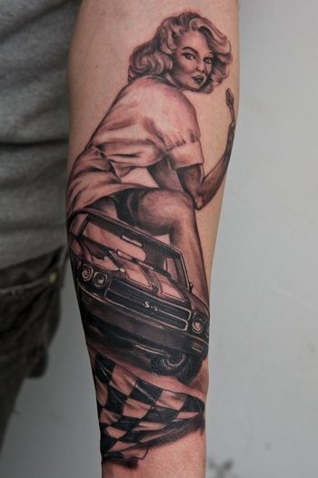 beginning of a women and cars sleeve by graynd on deviantART