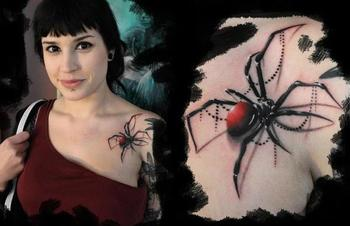 Realistic 3D spider tattoo on chest: I'm not a fan of spiders, but this does look BITCHIN!!